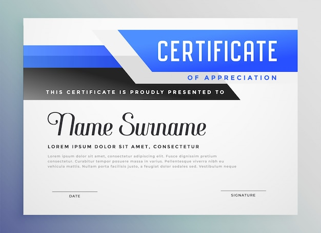Certificado de copmany azul elegante de modelo de agradecimento