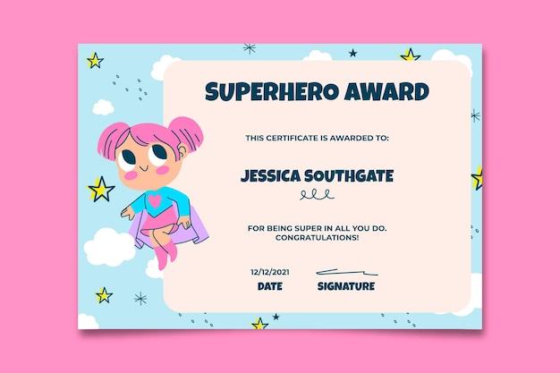 Certificado de crianças super-heróis desenhadas à mão criativa
