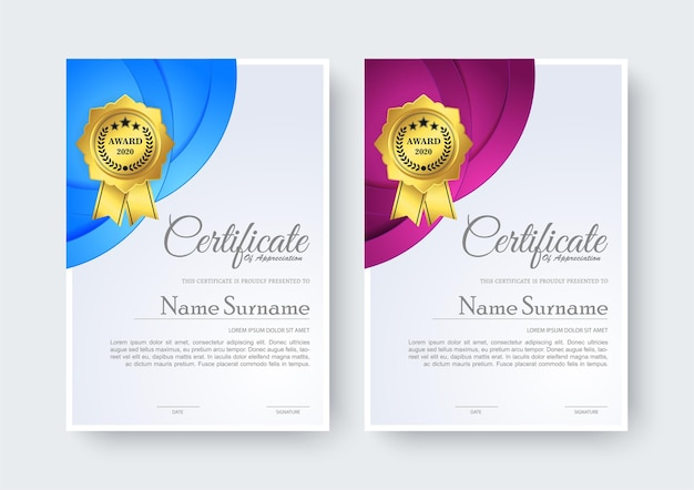 Certificado de criativo melhor modelo de prêmio