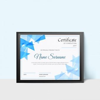 Certificado de desenho abstrato baixo em poli, diploma de conclusão.