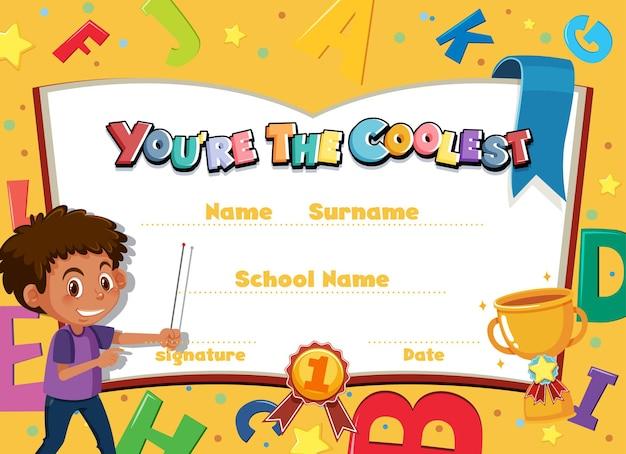 Certificado de desenho animado motivacional bonito para crianças