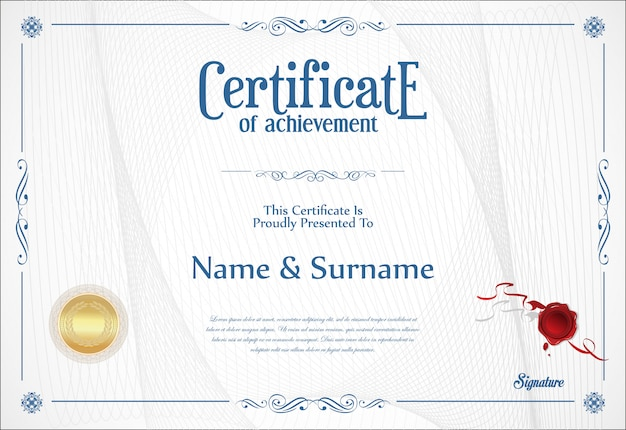 Certificado de design retro de modelo de conquista