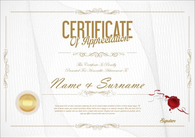 Certificado de design retro modelo de apreciação