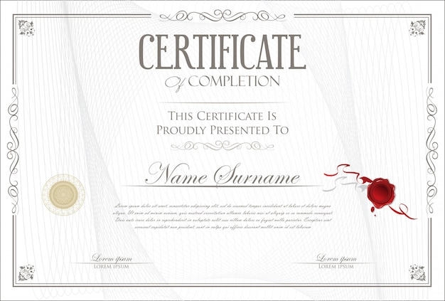 Certificado de design retro modelo de conclusão