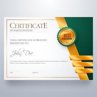Certificado de diploma de atribuição de participação.