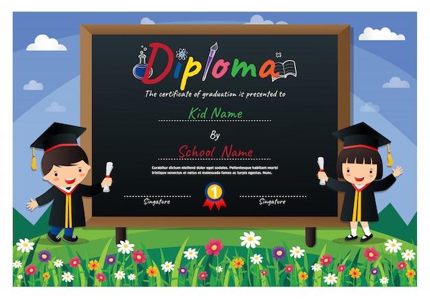 Certificado de diploma de crianças prées-escolar colorido