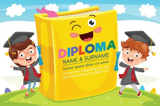 Certificado de diploma de crianças prées-escolar do ensino fundamental