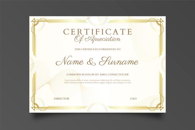 Certificado de diploma de design moderno