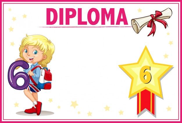 Certificado de diploma de grau seis