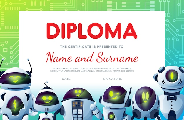 Certificado de diploma infantil, desenhos animados de robôs ou andróides