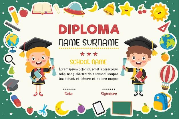 Certificado de diploma para crianças de pré-escola e ensino fundamental