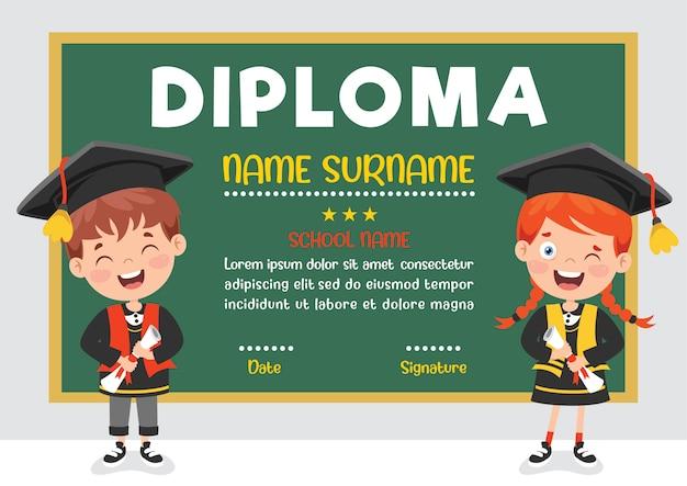 Certificado de diploma para crianças prées-escolar e ensino fundamental