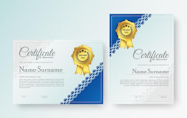 Certificado de elegância em azul moderno