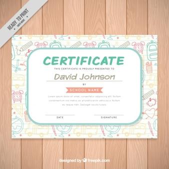 Certificado de escola com material escolar desenhado à mão