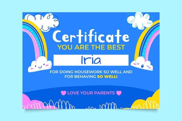 Certificado de família infantil colorido