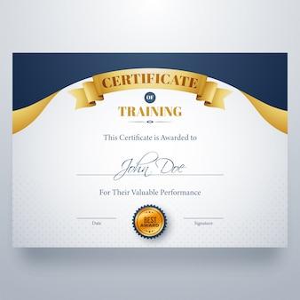 Certificado de formação melhor diploma de premiação.