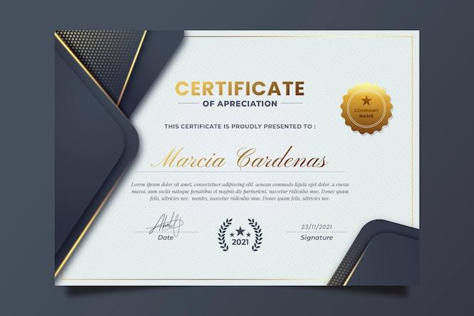Certificado de gradiente elegante com detalhes dourados