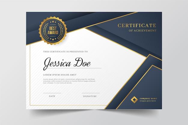 Certificado de gradiente elegante com elementos dourados