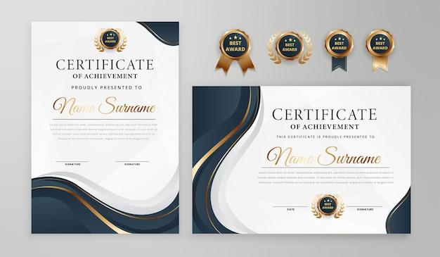 Certificado de gradiente elegante em azul e ouro com crachá e modelo a4 de vetor de borda