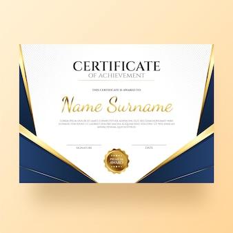 Certificado de gradiente elegante
