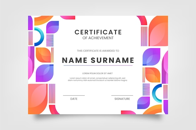 Certificado de gradiente moderno