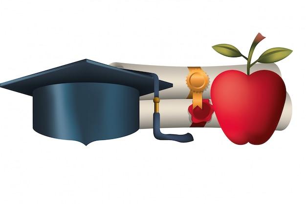 Certificado de graduação com chapéu e maçã