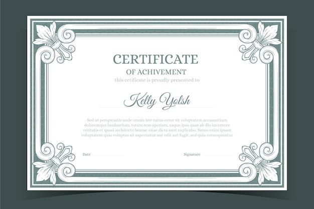 Certificado de gravura de mão desenhada