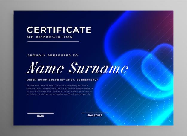 Certificado de inovação de estilo de tecnologia azul de apreciação