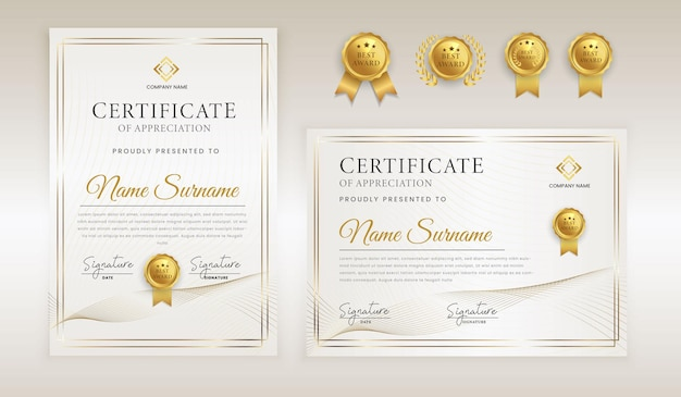 Certificado de luxo abstrato branco e dourado de reconhecimento de reconhecimento linha ondulada ouro distintivo e borda em modelo a4