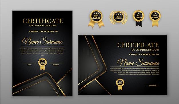 Certificado de luxo com crachá dourado e preto e modelo de borda