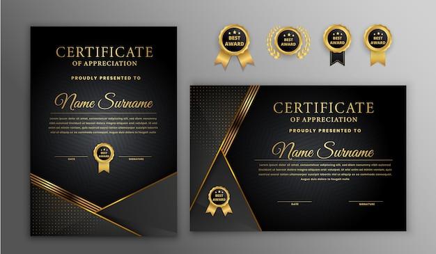 Certificado de luxo de meio-tom dourado e preto com emblema dourado e modelo de borda