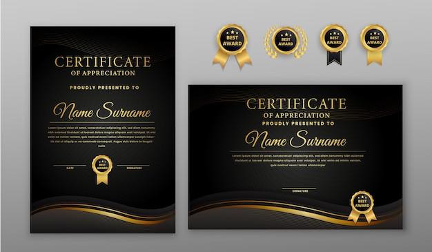 Certificado de luxo de meio-tom preto e dourado com crachá e modelo de borda