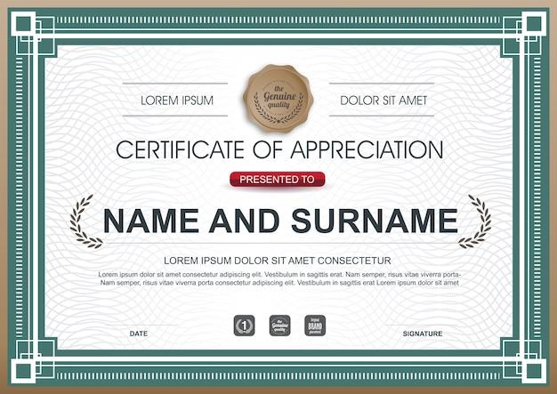 Certificado de luxo de modelo de prêmio de agradecimento.