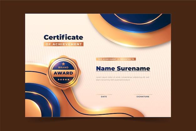 Certificado de luxo dourado realista