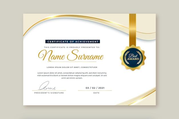 Certificado de luxo dourado