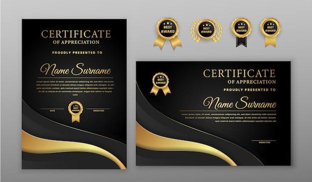 Certificado de luxo em ouro e preto com emblema de ouro e modelo de borda