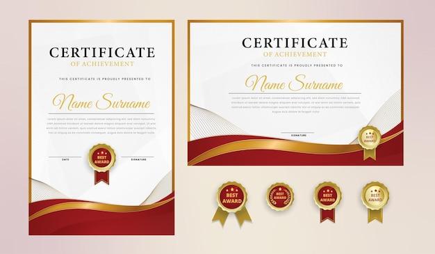 Certificado de luxo em ouro vermelho ondulado com emblema e modelo de borda