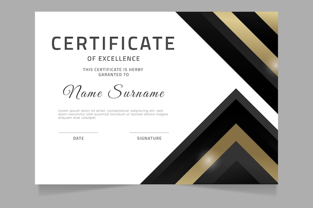 Certificado de luxo gradiente dourado