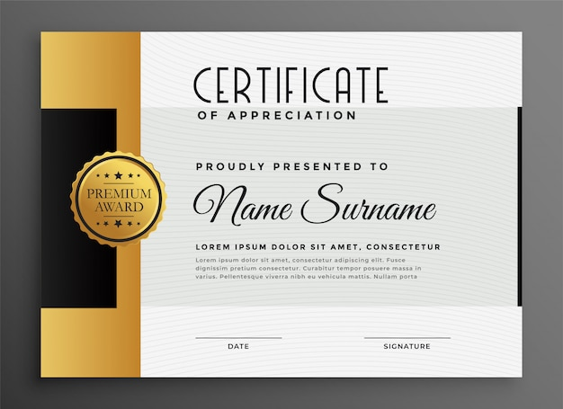 Certificado de luxo premium