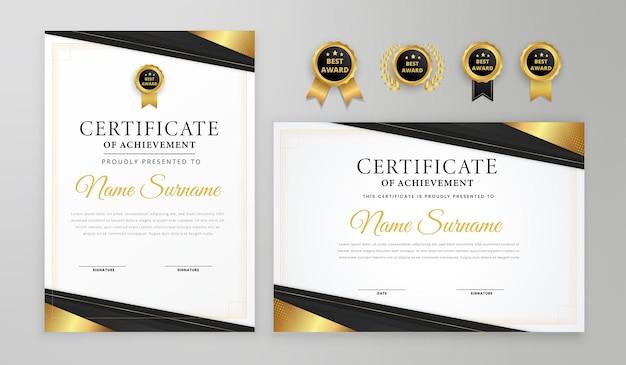 Certificado de luxo preto e dourado de linhas onduladas com crachá e modelo a4 de vetor de borda