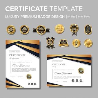 Certificado de luxo profissional com distintivo
