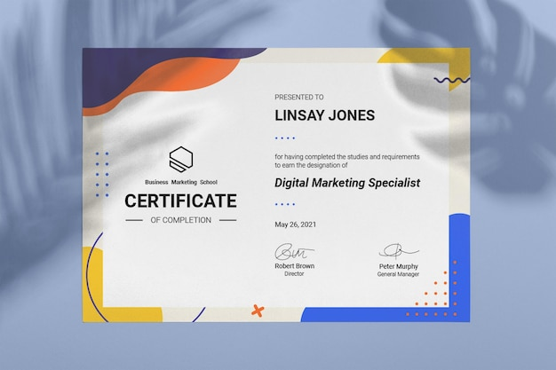 Certificado de marketing colorido abstrato