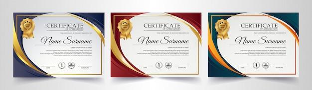 Certificado de membro melhor conjunto de modelo de diploma de prêmio.
