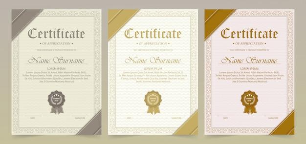 Certificado de modelo de agradecimento com borda de ouro vintage - vector