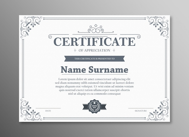 Certificado de modelo de agradecimento com borda preta vintage