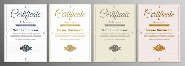 Certificado de modelo de agradecimento com borda vintage