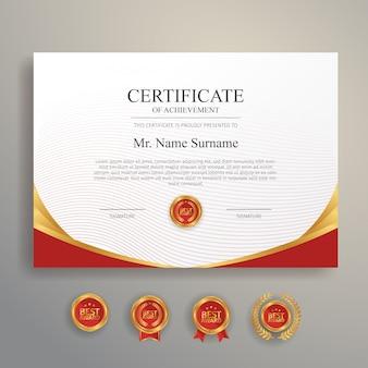 Certificado de modelo de agradecimento, ouro e cor vermelha. certificado moderno limpo com distintivo dourado.