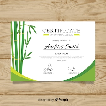 Certificado de modelo de agradecimento