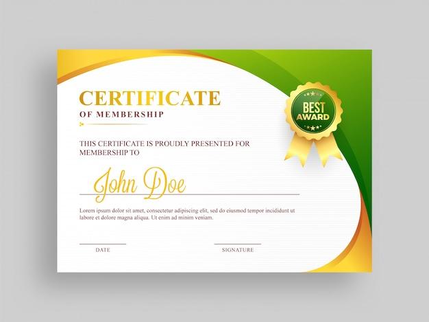 Certificado de modelo de associação com design e emblema verde e dourado.