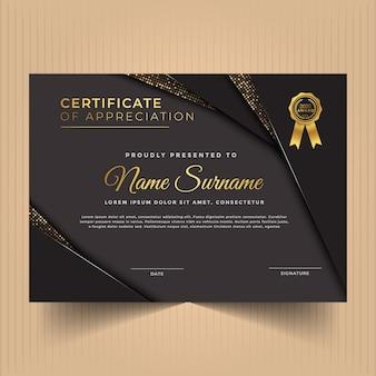 Certificado de modelo de design de apreciação com cores modernas